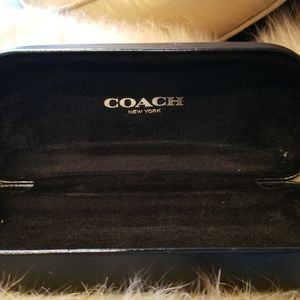 Gently used COACH black leather sunglasses case